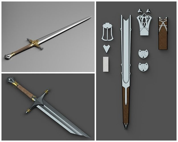 Shadow of Mordor Swords and Scabbards 3D printable