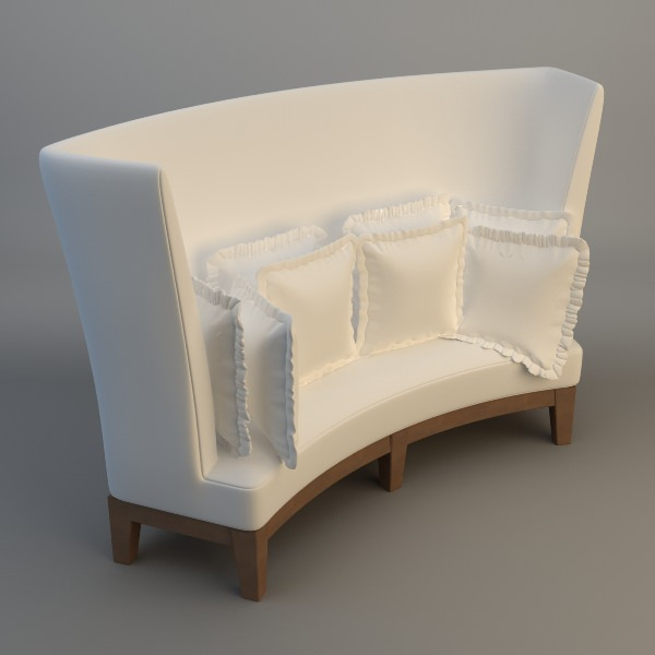 3D model Curved High Back Sofa | CGTrader