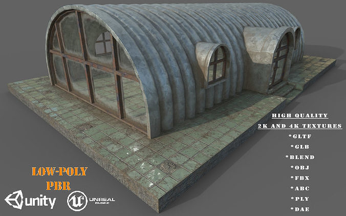 Old Steel Shed PBR Low-Poly Game Ready 3D Model