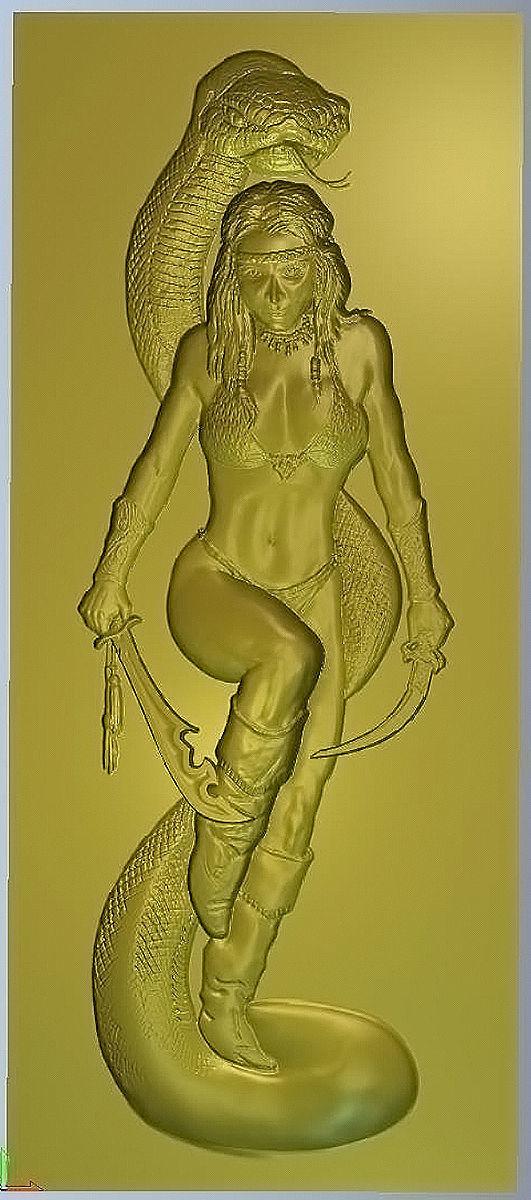 Lady with anaconda