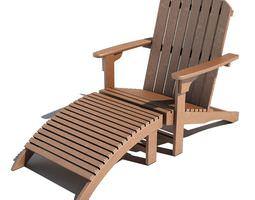 3D Wooden Deckchair