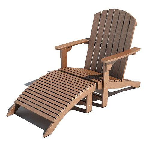 wooden deckchair 3d model obj mtl 1