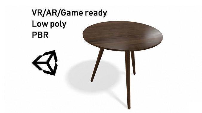 Article Amoeba Wood End Table Lowpoly model