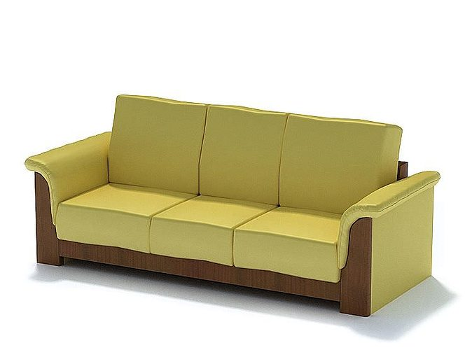 tan and brown couch 3d model  1