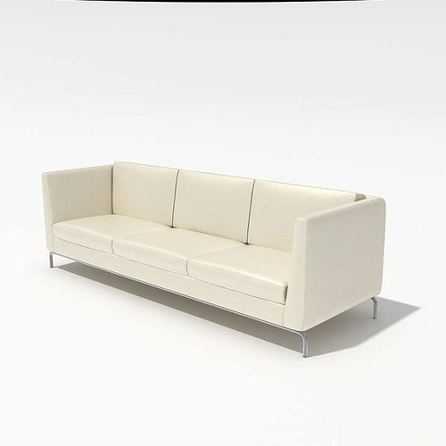 White Modern Leather Sofa 3D Model