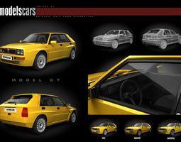 3D model Yellow Car Lancia Delta