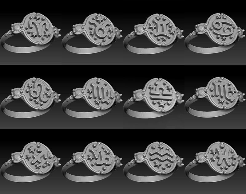 Zodiac signs ring set 3D model for printing Horoscope jewelry