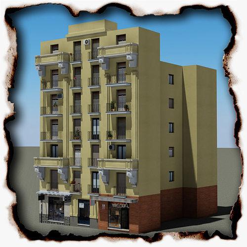 building 3d model low-poly max obj 3ds fbx mtl mat 1
