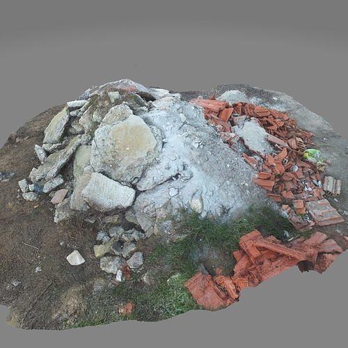 Rubble construction pile