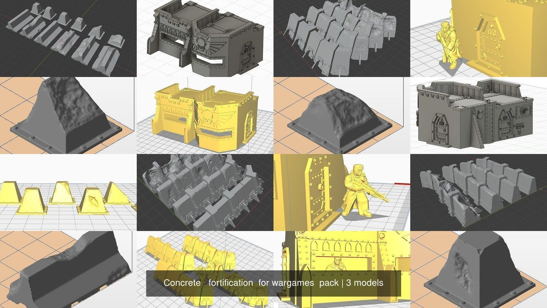 Concrete   fortification  for wargames  pack