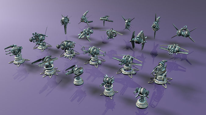 tower defense pack 3d model low-poly max obj fbx mtl tga 45