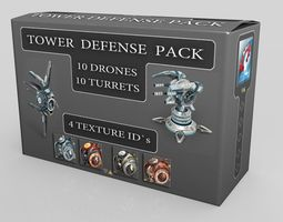 3d model low-poly tower defense pack