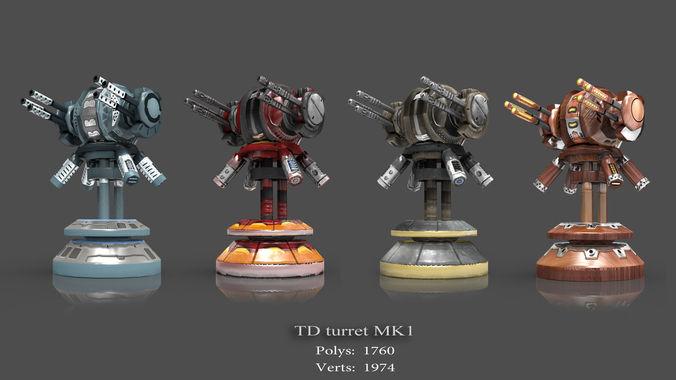tower defense pack 3d model low-poly max obj fbx mtl tga 18