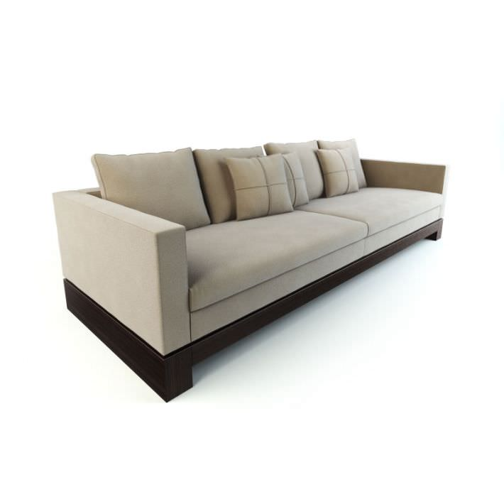long modern tan couch with a wooden base 3d model obj 1