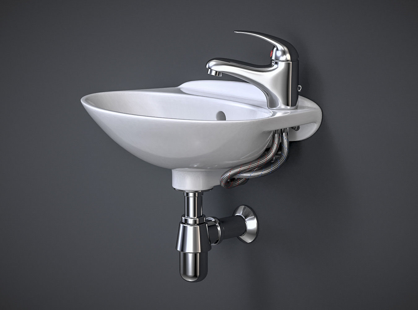 Sink Tap Modell : Compact bathroom sink with faucet d model cgtrader