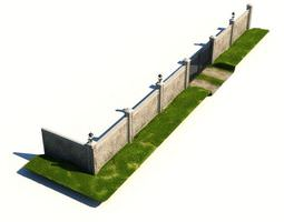 security wall with gate 3d