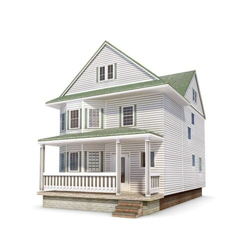 Two Story House With A Full Porch 3d Model