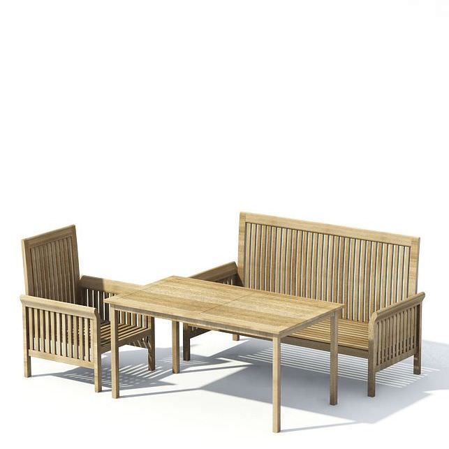 wooden patio furniture with table 3d model 1