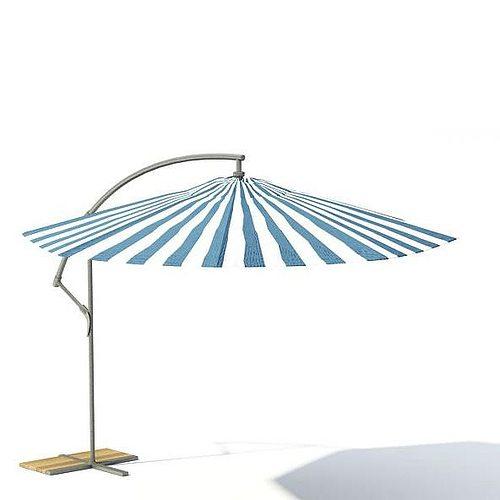 Striped Garden Umbrella 3D Model