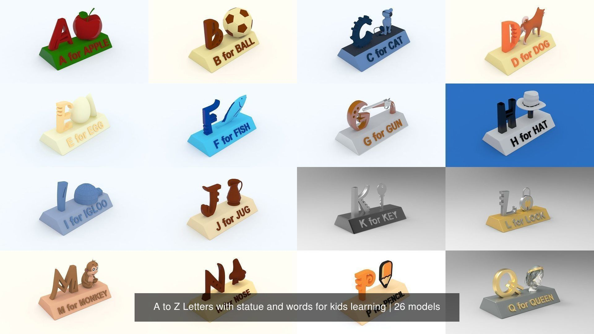 A to Z Letters with statue and words for kids learning