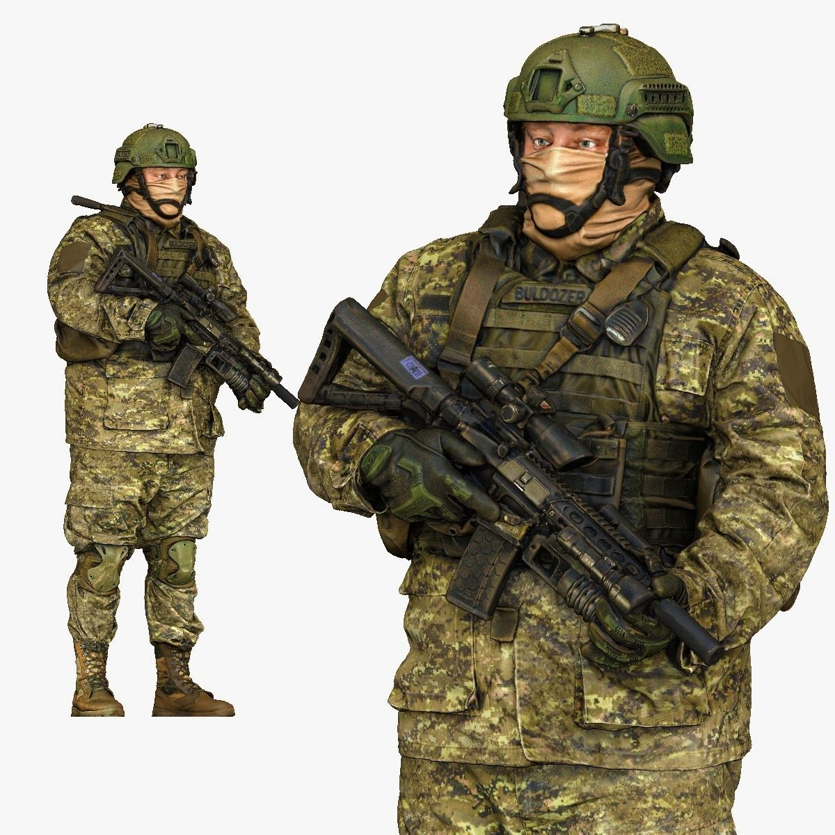 modern soldier in camouflage honeybadger 001149 3D Print Ready