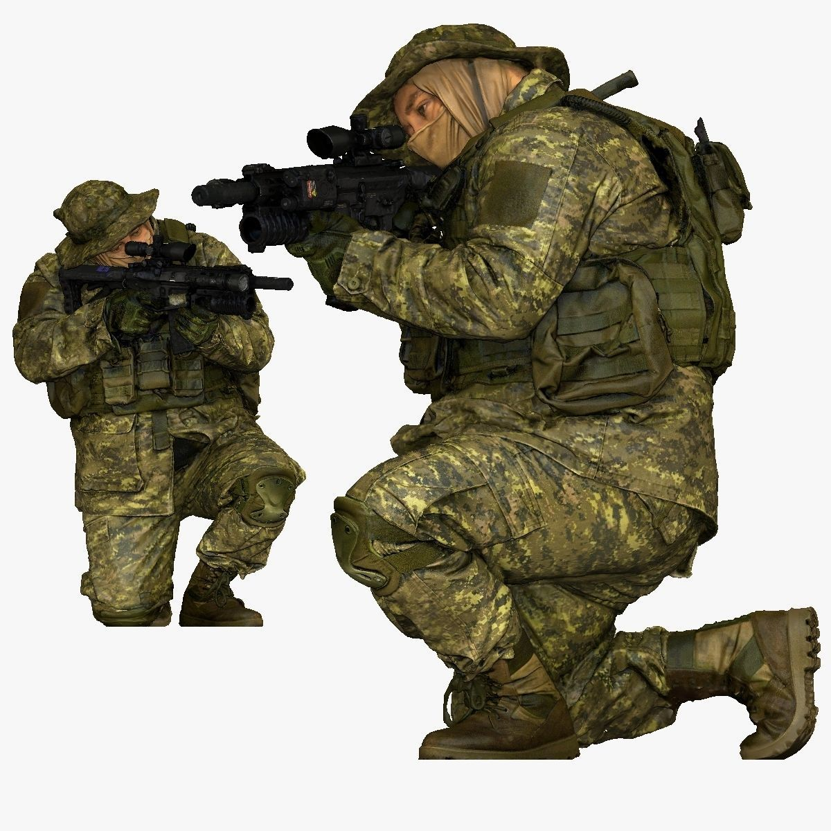 modern soldier aiming on knee honeybadger 001151
