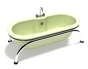 3D model Freestanding Bathtub With Silver Faucet
