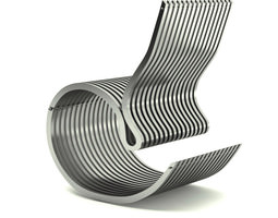 Contemporary Steel Armchair 3D Model