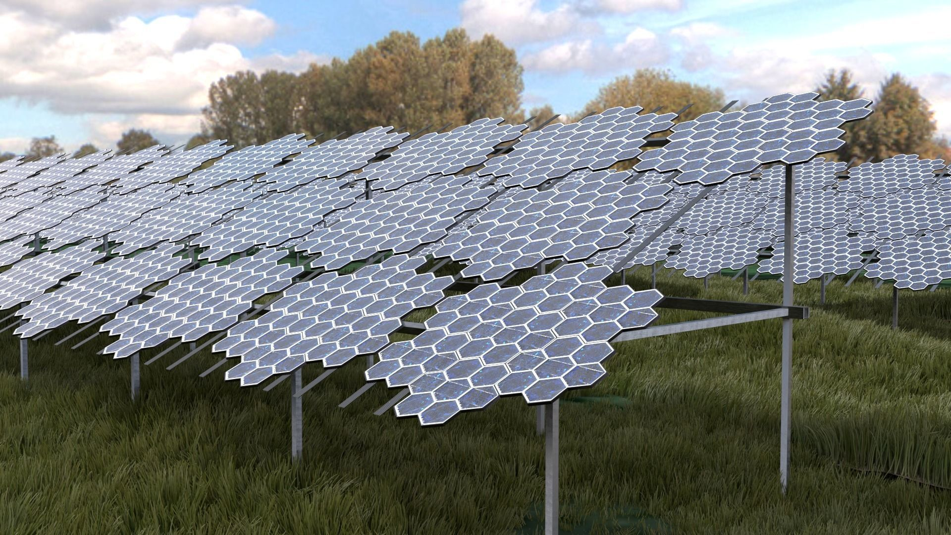 Hexagonal pv solar panel array