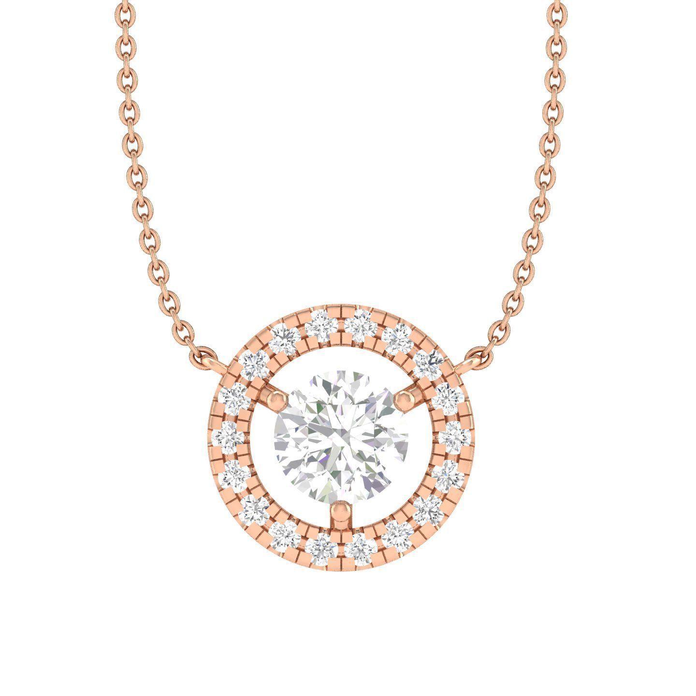 Women round solitaire necklace 3dm stl render detail