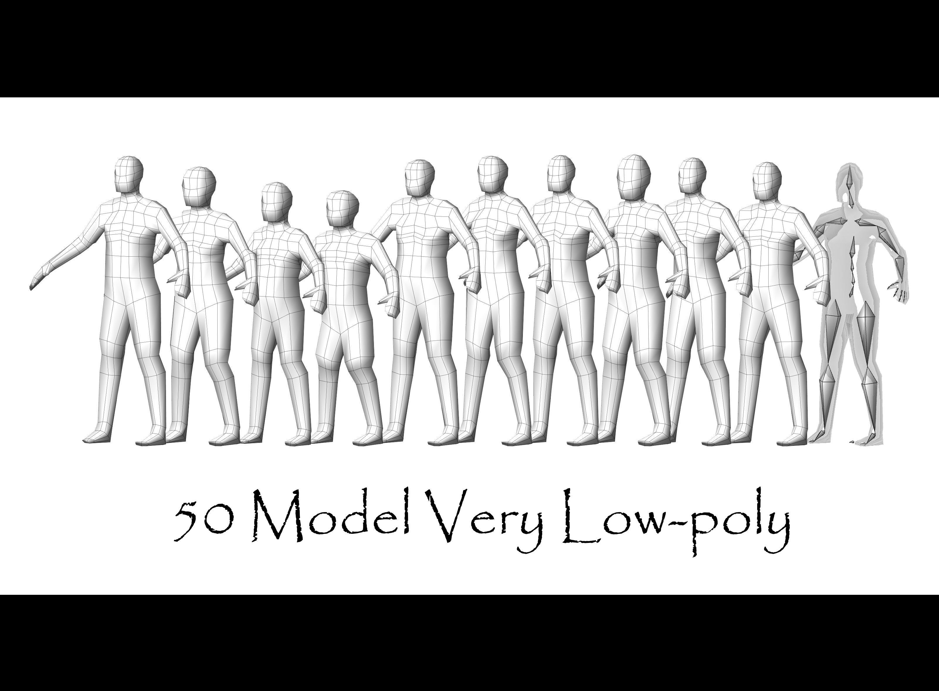 Collection Characters Very Low-poly - 50 Body Male and Female