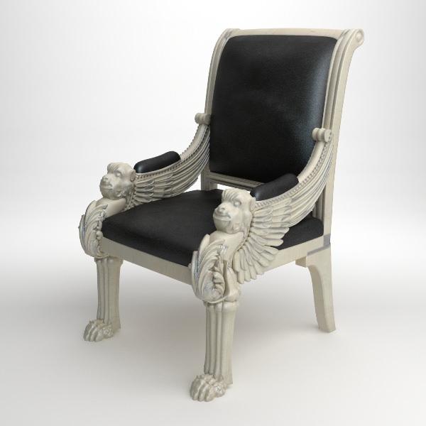 royal leather armchair 3d model max obj 3ds fbx mtl 1