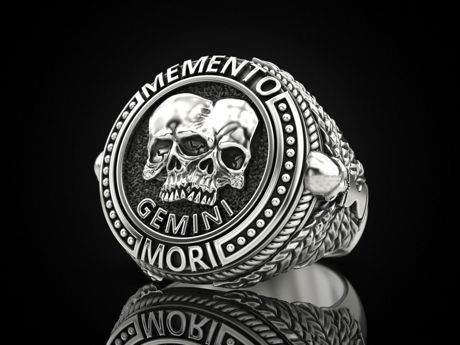 Zodiac skull ring Gemini
