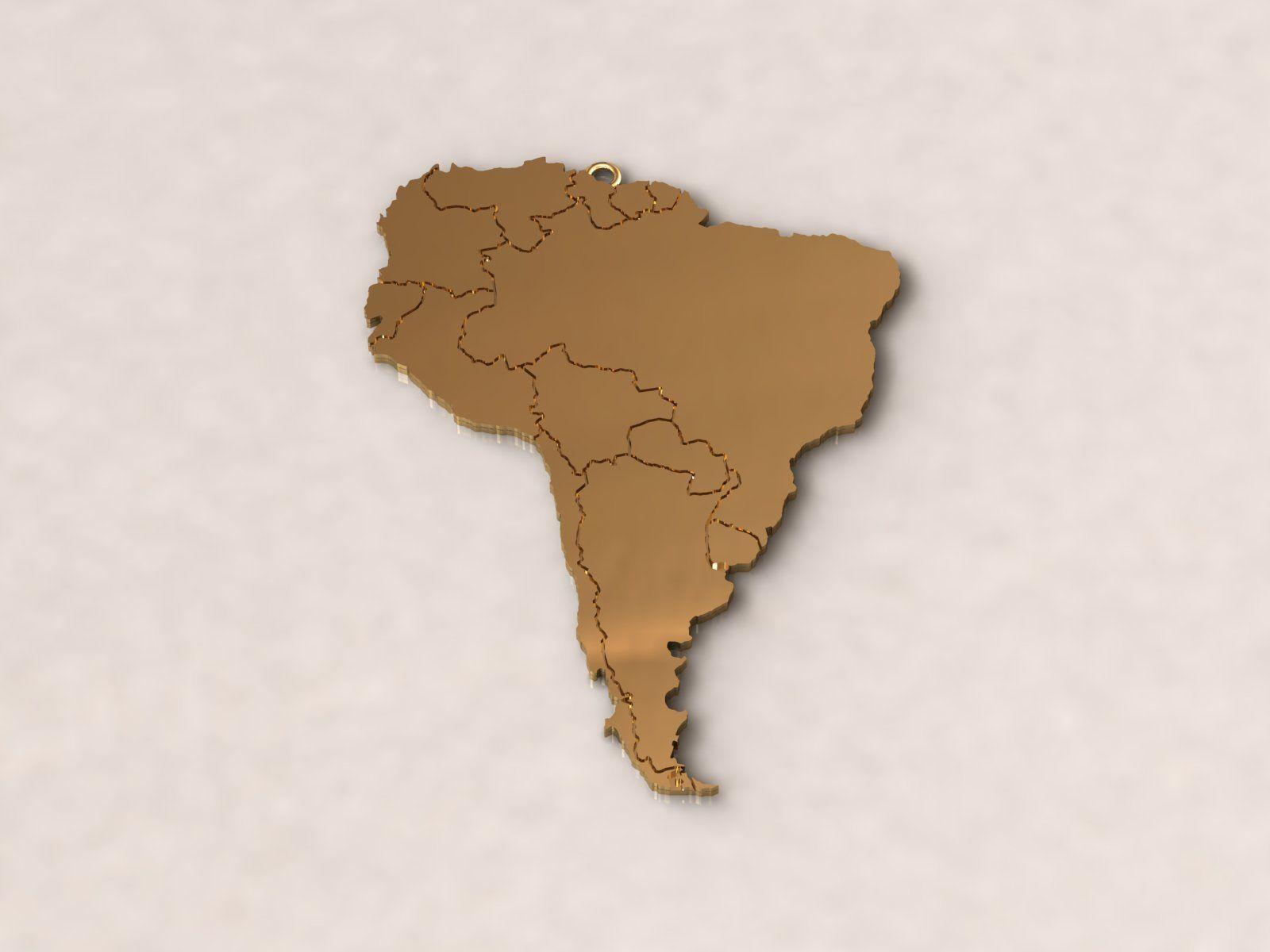 South America Map Charm Pendant