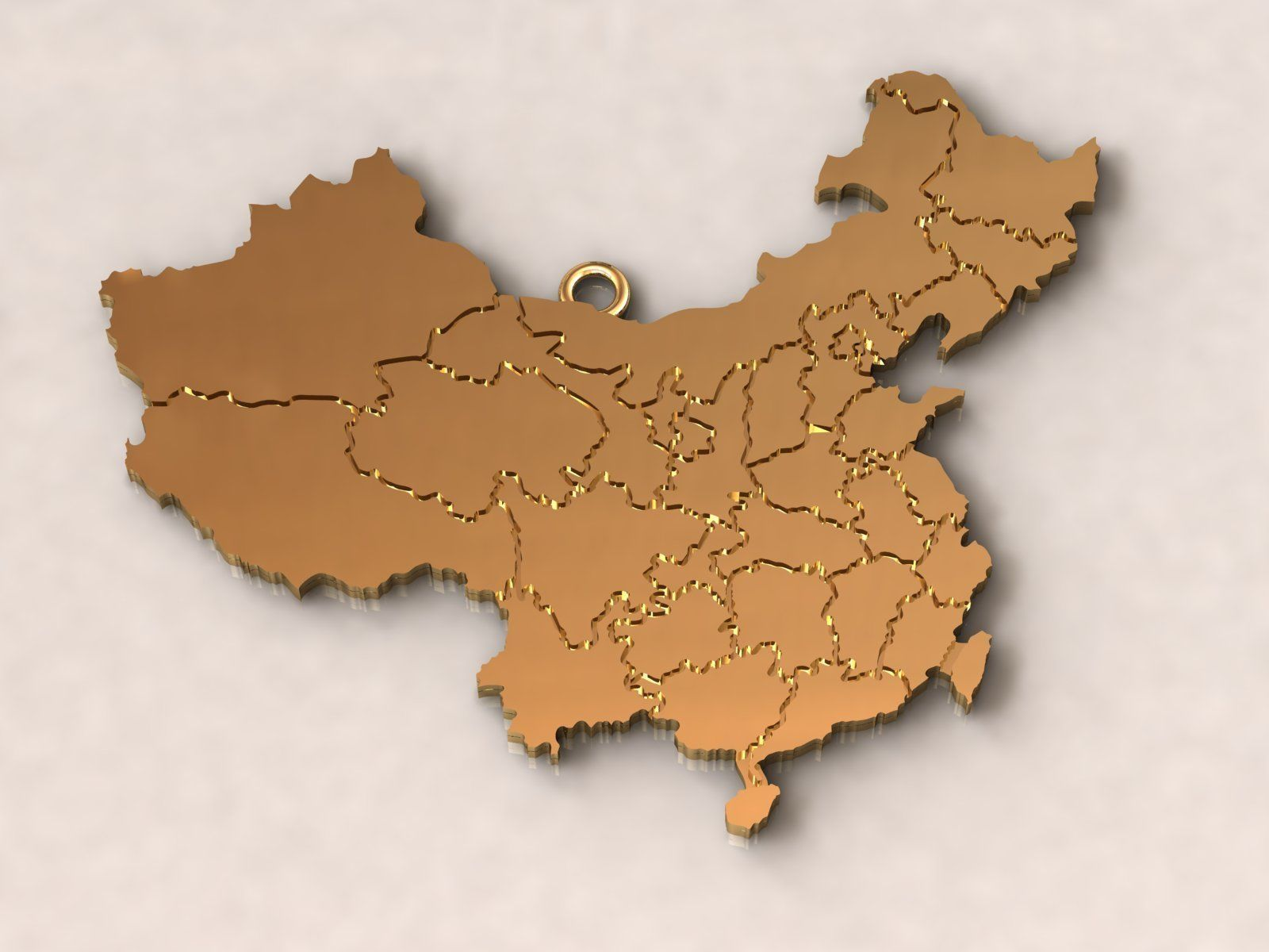 China Map Charm Pendant