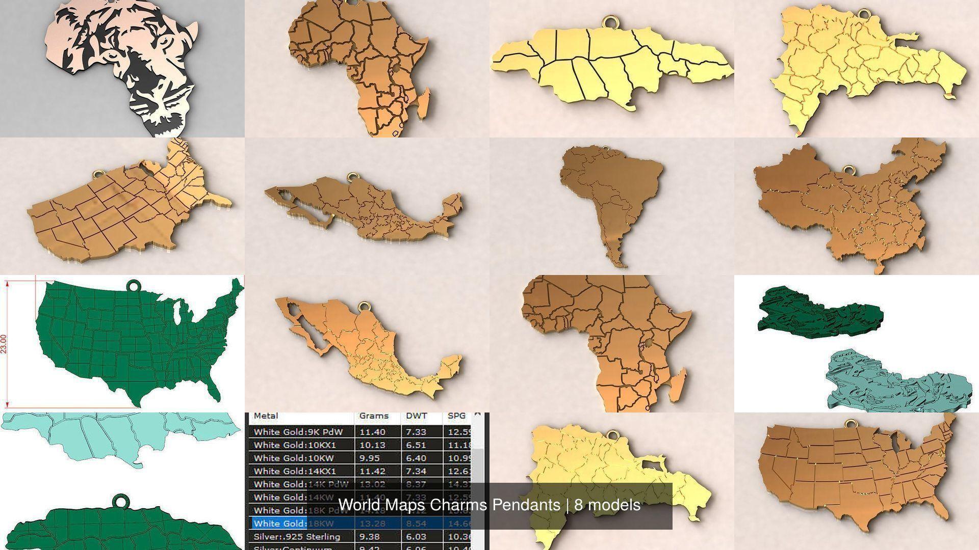 World Maps Charms Pendants
