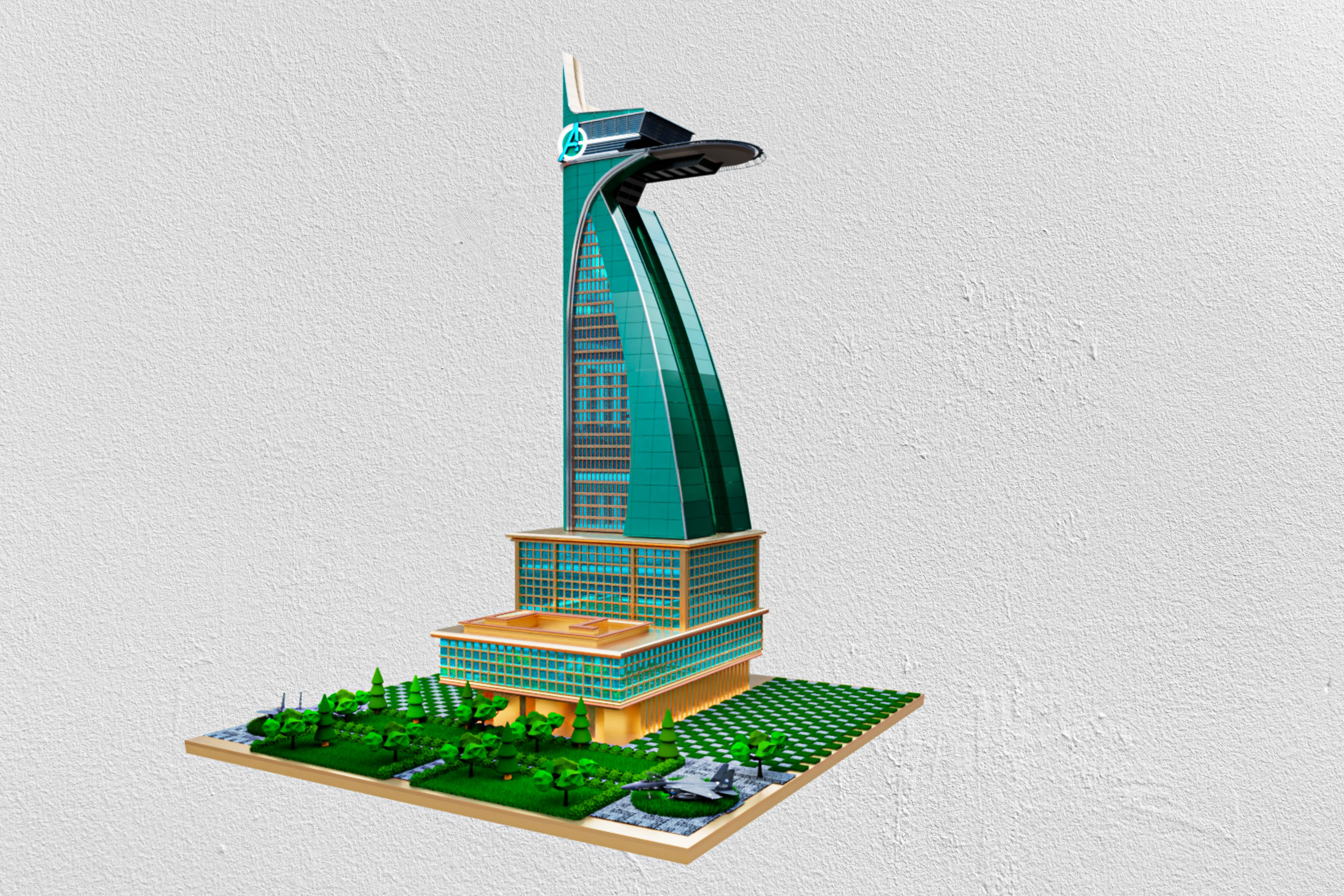 Avengers tower fully detailed with detailed landing plate