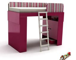 pink kids bed with ladder 3d