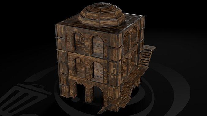 AAA Wooden Enterable Medieval Primal Watchtower 03 R