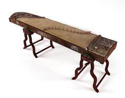 musical instrument guzheng 3d model
