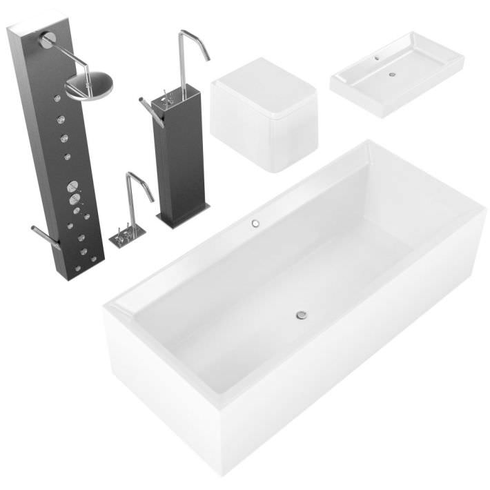 Modern Bathroom Fixtures Bath Tap Shower Sink 3D model OBJ