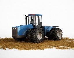 industrial blue tractor 3d