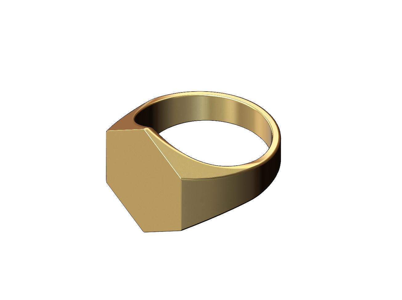 Large Engravble hexagonal signet ring US size 6to13
