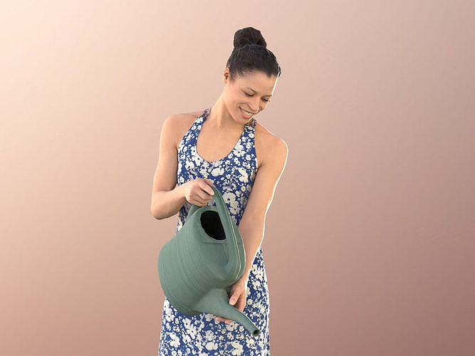 Diana 10880 - Young Woman In Summer Dress Watering Plants