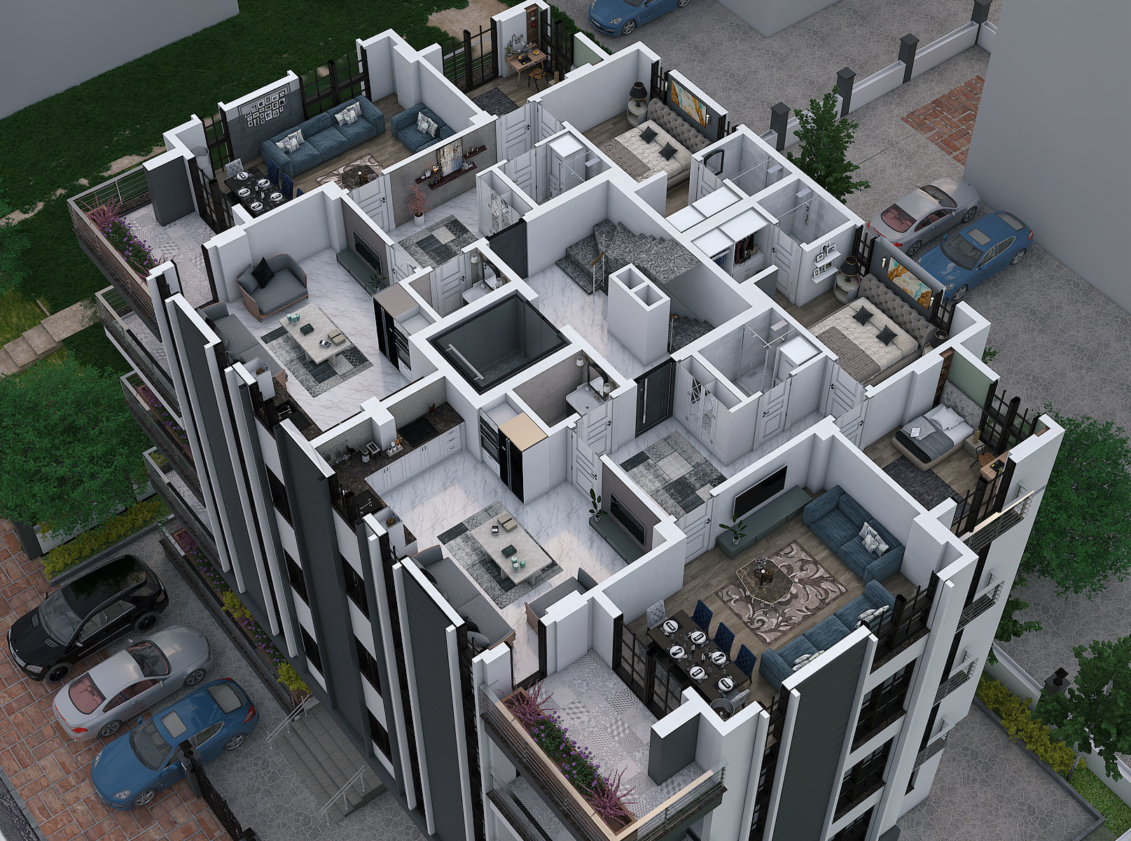 Aerial view of appartment