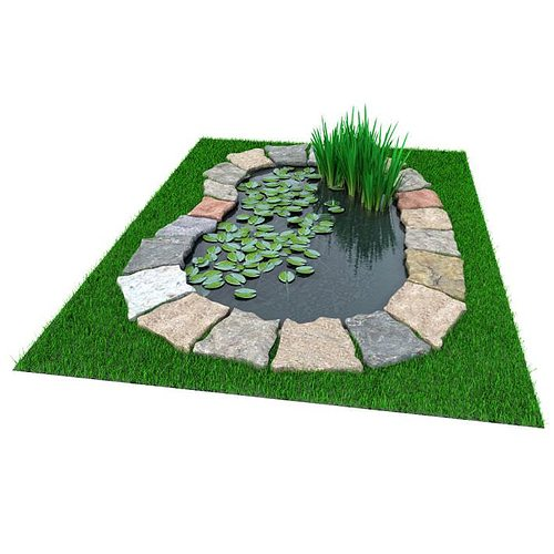 3d model garden pond with foliage cgtrader for Garden design in 3ds max