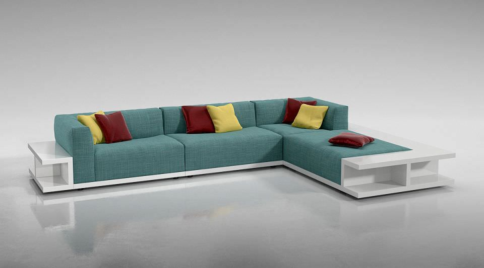 Admirable Blue Sofa Bed With Red And Yellow Pillows 3D Model Interior Design Ideas Oxytryabchikinfo