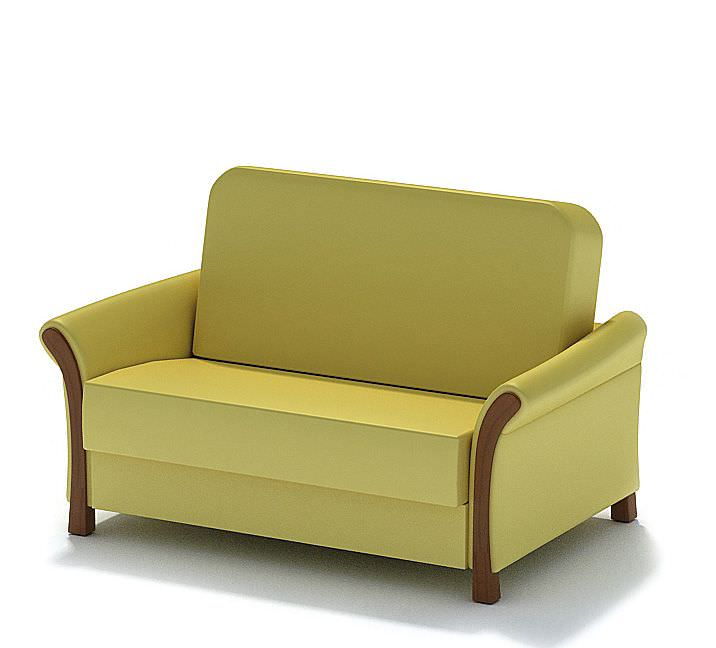 Cushioned Yellow Leather Sofa Cgtrader