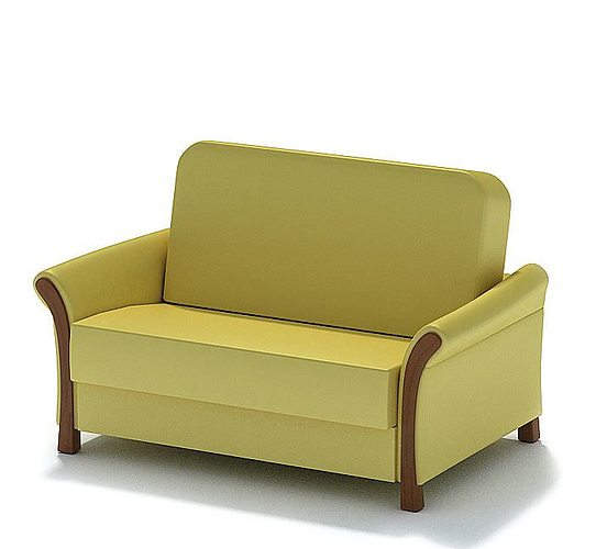 Yellow Leather Sofa: Cushioned Yellow Leather Sofa 3D