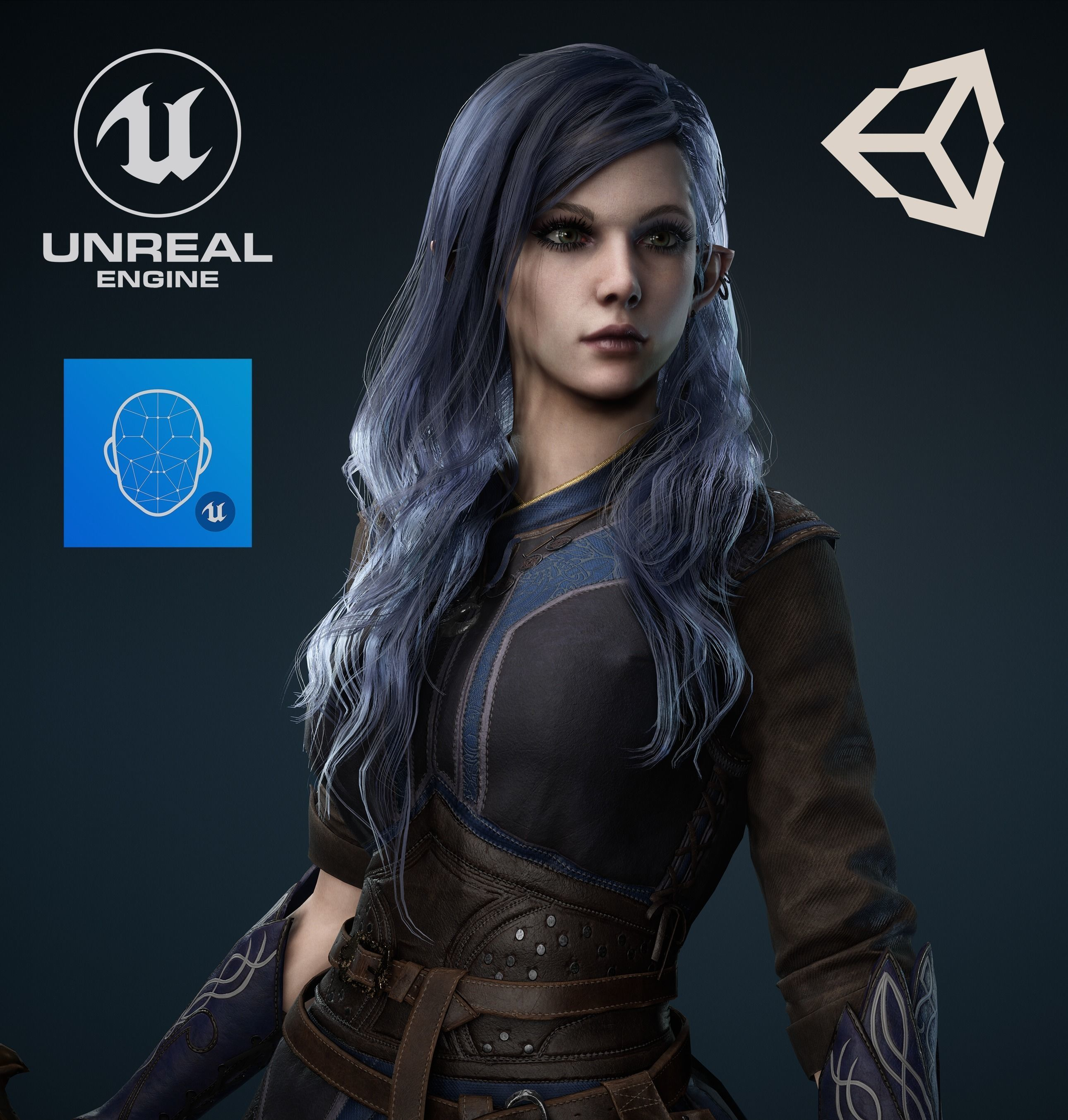 Medieval Fantasy girl - Game Ready Low-poly 3D model